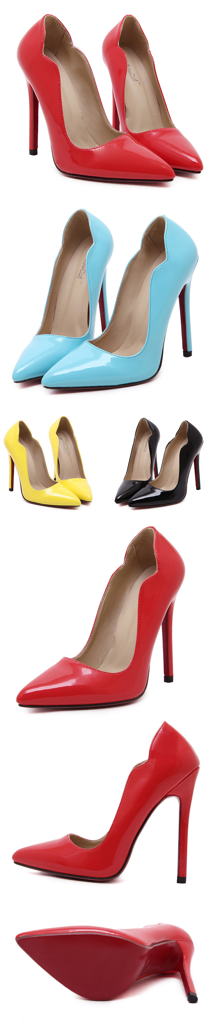 2016 Women's Sexy Red Bottom Pointed Toe High Heels fashion candy colors Patent Leather pumps Free shipping