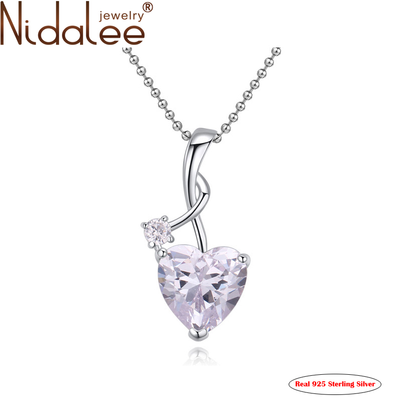 2016 New Heart Pendant 925 sterling silver Gold Plated Zircon Necklaces For Women Fashion Necklaces Jewelry Accessories CN1701(China (Mainland))