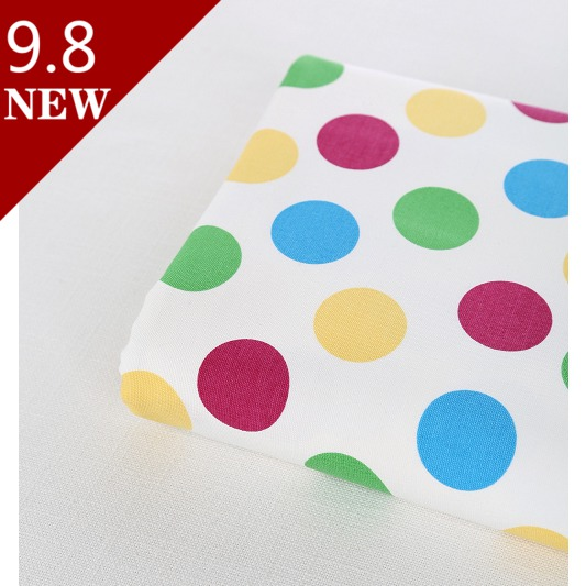 Free Shipping 2014 New DIY white pruple Blue Green Big polka dot 100% Cotton Fabric Canvas  patchwork 110cm*90 cm (1 Yard)(China (Mainland))