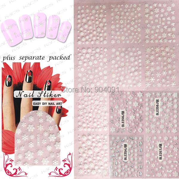 50sheet/LOT 3D NAIL sticker Snowflake design,Christmas&Snowflake Series For Fingernail Desgin&decoration+individually packaging(China (Mainland))