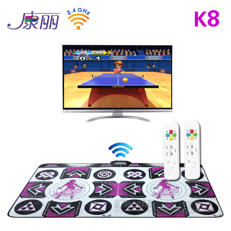 Kangli k8 wireless sports game machine computer tv dual wireless double handle 35mm dance mat tv game console(China (Mainland))