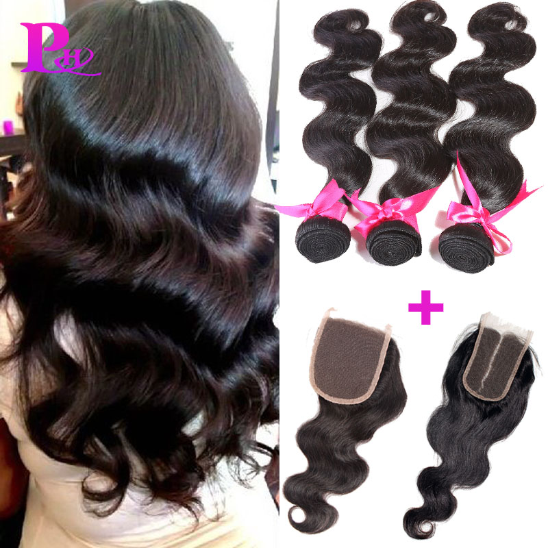 New Hot 7A Indian Virgin Hair Body Wave 3Bundles With Closure Indian Body Wave Queen Hair With Closure 7A Unprocessed Human Hair