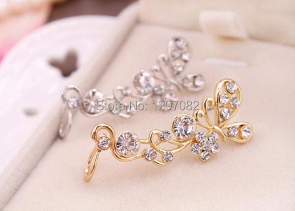 Newest Womens Fashion Crystal Butterfly Flower Cuff Rhinestone Ear Stud Earring Hot selling JE412(China (Mainland))