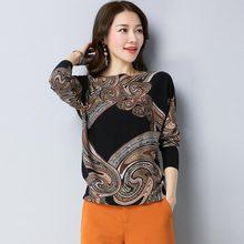 2018 Mùa Thu và Mùa Đông MỚI Dệt Kim áo len Phụ Nữ in ấn Chui Đầu Xiên cổ áo Dài Tay Áo Dệt Kim Mềm Ấm Áo Thun N(China)