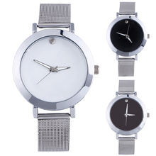 Popular Casual Women's Silver Tone Mesh Band Quartz Analog Classic Alloy Watches NO181 5UVD 3Y3FD