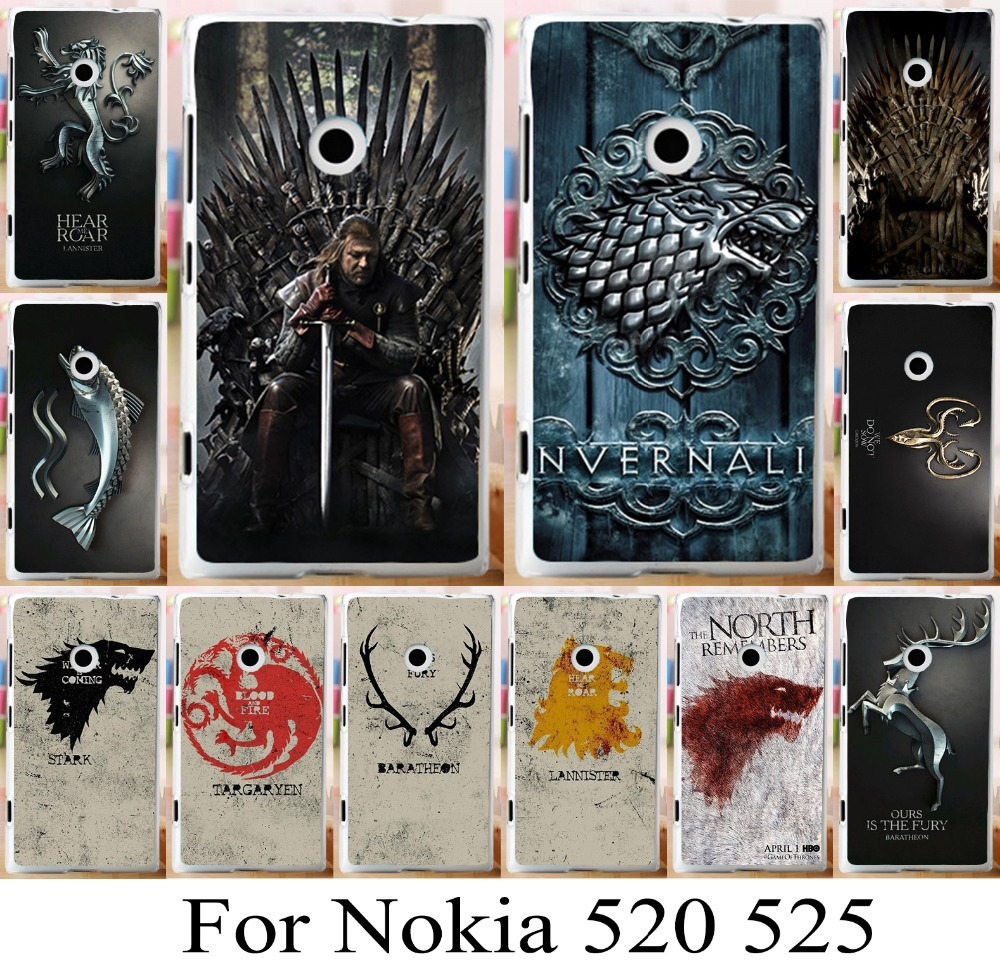For Nokia lumia 520 525 game of thrones phone hood new pattern skin shell bag hot selling freeshipping new family flag cover(China (Mainland))