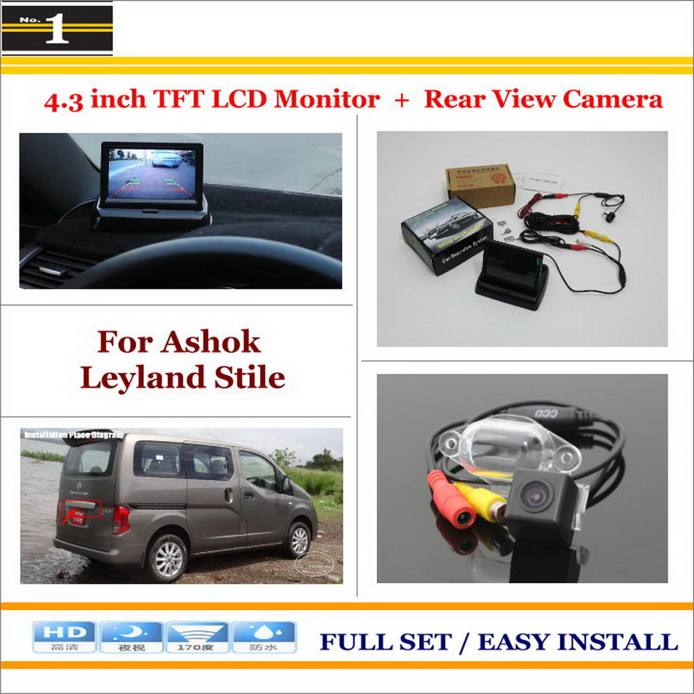 """For Ashok Leyland Stile - Auto Rear View Camera Back Up + 4.3"""" LCD Monitor = 2 in 1 Parking Assistance System(China (Mainland))"""