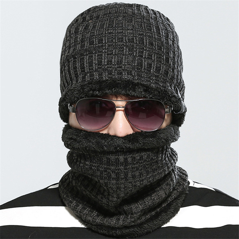 Top Quality Winter Warm Knitted Scarf And Hat Set for Male Thicken Knitted Hat Scarf Free Shipping