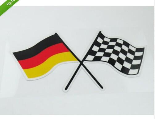 New film Auto car Germany German Checkred Flag Emblem Badge Sticker(China (Mainland))