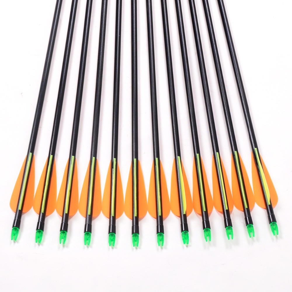 12Pcs Lot Fiberglass Arrow Spine 500 Replace Arrowhead Nock Proof For Outdoor Hunting Compound Bow Recurve