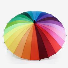 Top Quality 24k Rib Color Rainbow Fashion Long Handle Straight Anti-UV Sun/Rain Stick Umbrella Manual Big Parasol(China (Mainland))