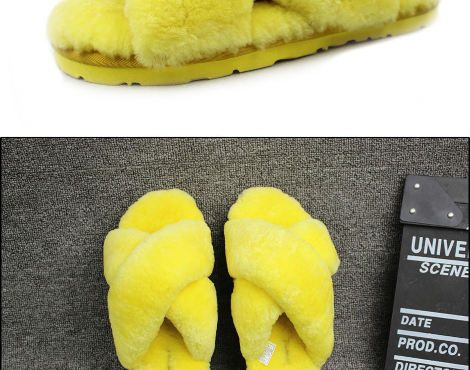 Natural Sheepskin Winter Warm Fur Slippers Women Home Shoes Men Indoor Slipper 2016 Luxury Unisex Furry Slippers Big Size 35-45