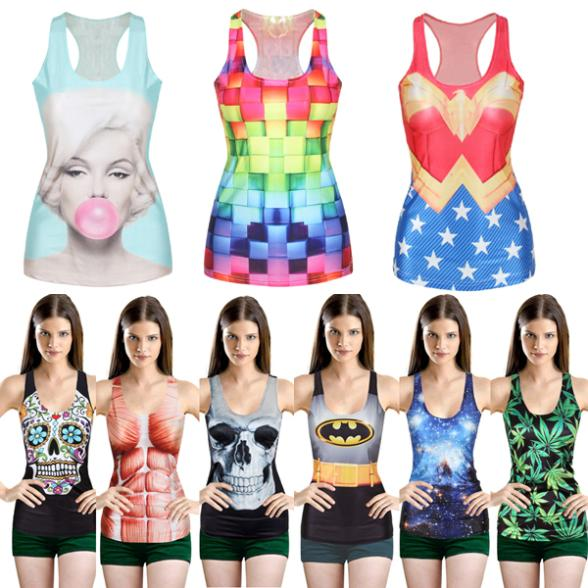 Women Multi-Color Gothic Punk Clubwear T-Shirt Print Tank Top Vest Blouse(China (Mainland))