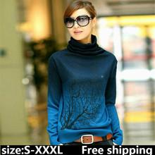 2015 New women cashmere sweater turtleneck branch pattern Gradient Color design pullover sweater plus size S-XXXL zz31(China (Mainland))