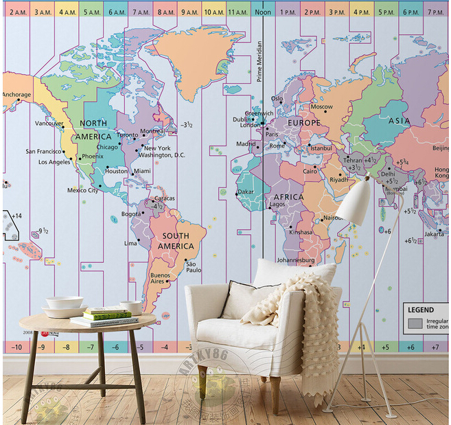 Custom papel de parede infantil world time zone map for for Home zone wallpaper blackheath