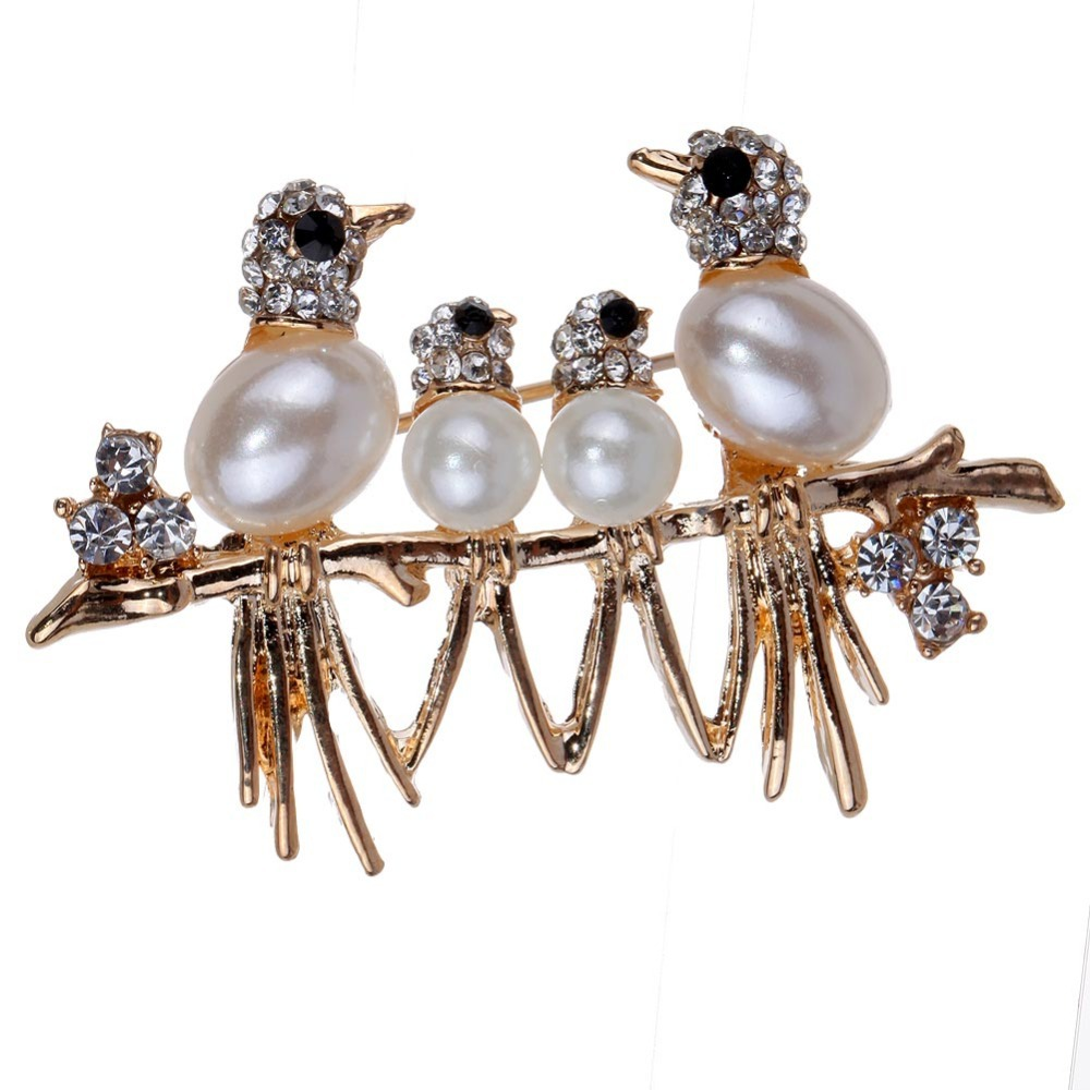Wholesale Pearl Birds Black Eye Gold Plated Carved Brooches Pins(China (Mainland))