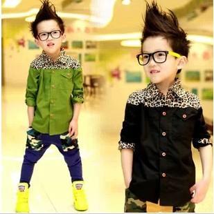 2016 Spring New Clothing Long Sleeved Cotton Leopard Shirts Kids Black Boys Shirts A189(China (Mainland))