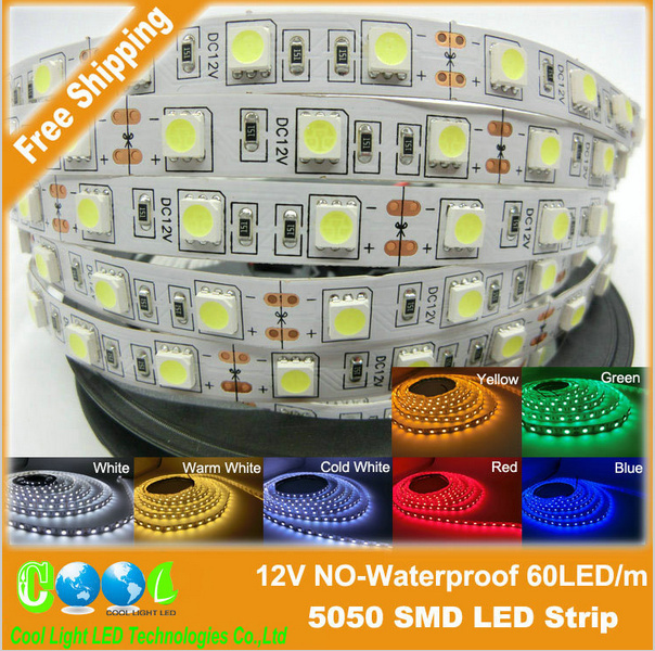 ED strip 5050 SMD 12V flexible light 60LED/m,5m 300LED,White,White warm,Blue,Green,Red,Yellow(China (Mainland))