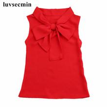 2017 Summer Baby Teenage Children Girls Blouse Blusas Chiffon Bow Sleeveless School Girl Tops And Blouses Shirts For Kids JW1506(China (Mainland))