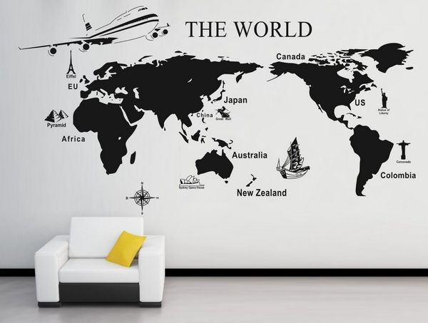 Free shipping 0909 world map mural modern wall sticker large background the w - Stickers muraux one piece ...