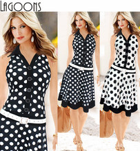 Woman Autumn Winter Dress Knee length Dot Polka Dress Turn Down Collar Sleeveless V neck OL Daily fashion Lady Dress #F23(China (Mainland))