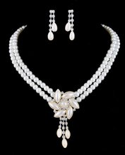 Flower Charm Pearl Necklace Set White Color Pearl Jewelry Set Free Shipping #W344451H01(China (Mainland))