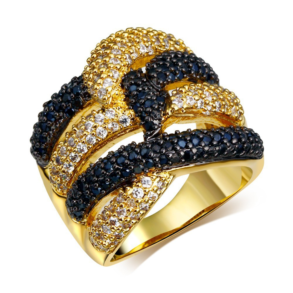 Latest Black & White Women CZ Rings Bling Bling Cocktail Party Jewelry 18K Gold Plate Woven Face AAA Cubic Zirconia Pave Setting(China (Mainland))