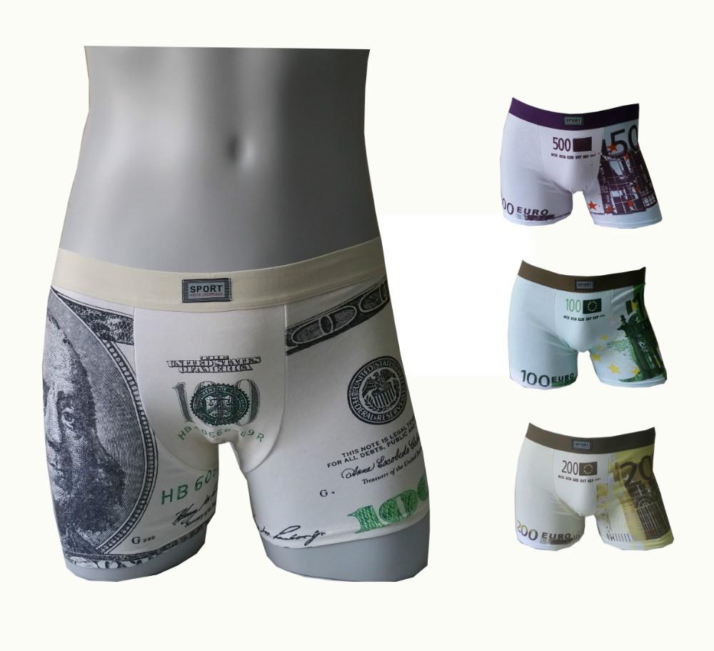 3891 Free Shipping Hot Sale USD EURO Print Cotton Men Boxers Underwear