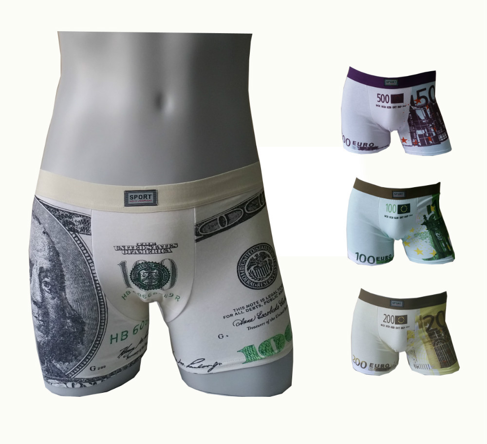 3891 Free Shipping Hot Sale USD & EURO Print Cotton Men Boxers Underwear(China (Mainland))