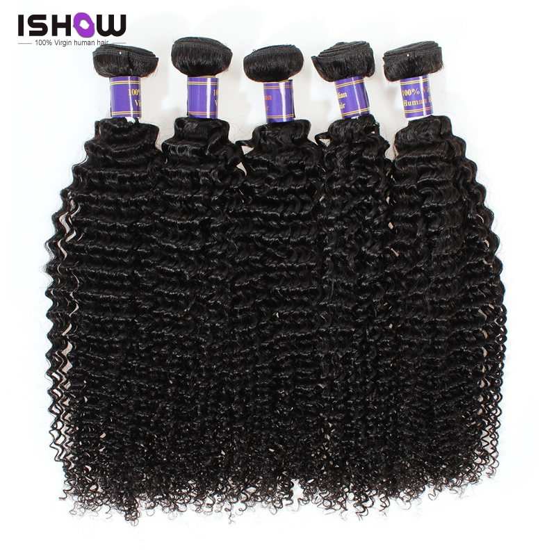 Brazilian Kinky Curly Hair 5 Bundles Lot High Quality Remy Human Hair Extensions Ishow Hair 8A Brazilian Virgin Hair Kinky Curly<br>