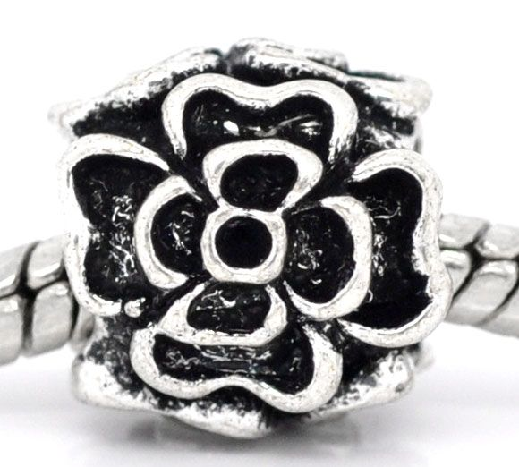 Retail Antique Silver Flower Charm Beads Fit European Charm 10x10mm,sold per packer of 20(China (Mainland))