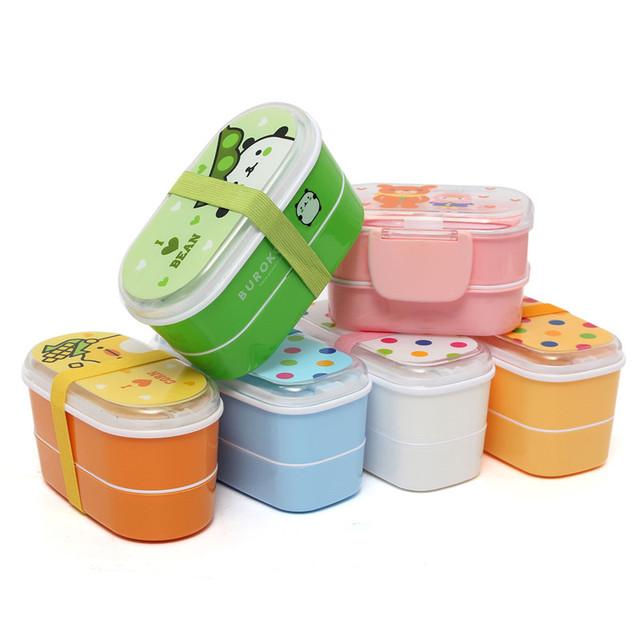 Случайный цвет Япония Мультфильм Стиль Высокое Качество Портативный Здорового Lunch Box Bento Коробки Пищевых Контейнеров Посуда Столовые Приборы + Палочки Для Еды