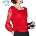 Fashion Women chiffon shirt 2016 new Korean puls size women Lace Net yarn sexy blusas lantern