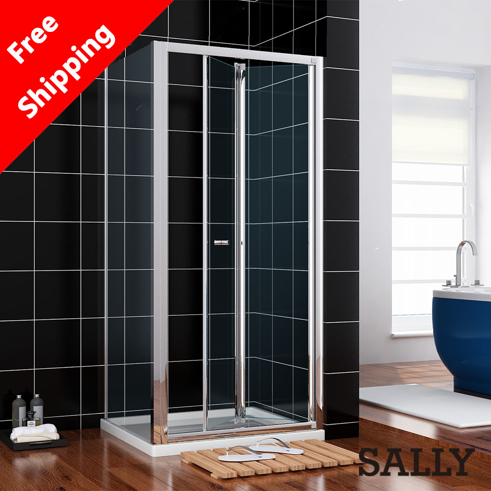Free shipping 800x760mm Bifold Shower Door Enclosure Cubicle Screen Glassl With Glass Side Panel<br><br>Aliexpress