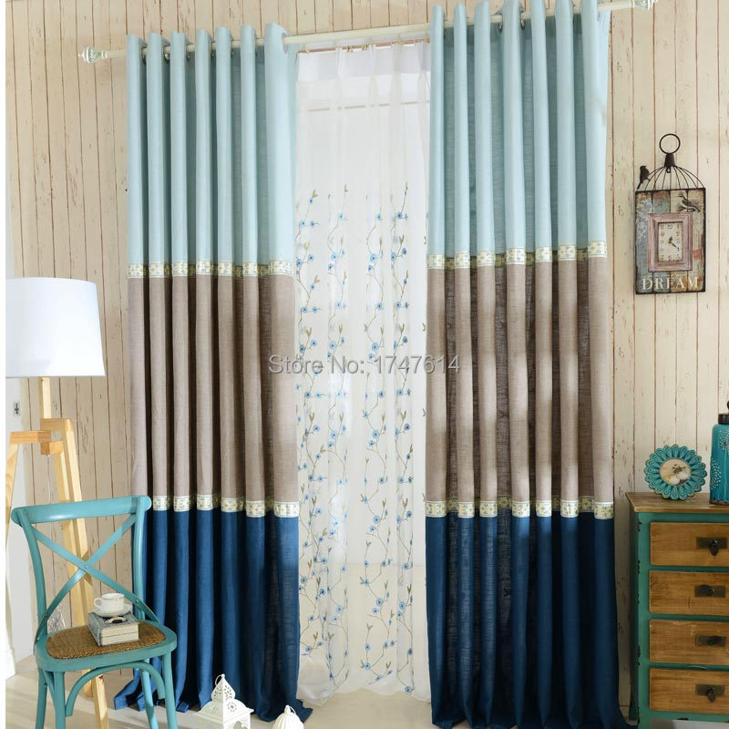 Pinished product curtain + embroidered window screening /fine linen cloth cotton&inen blending cloth art sitting room bedroom(China (Mainland))