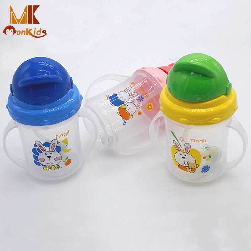 Monkids Newborn Baby Feeding Bottle Baby Kids Straw Cup Drinking Feeding Bottle Sippy Cups With Handles PP Plastic Rice Cereal(China (Mainland))