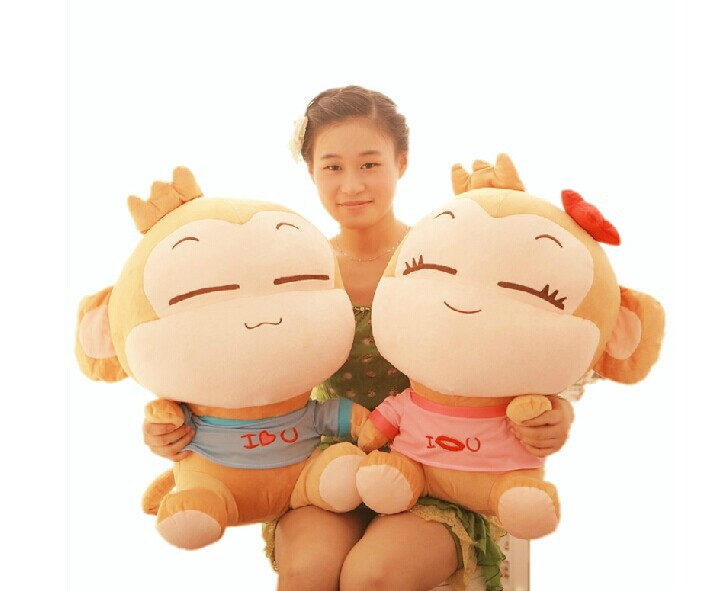 Фотография a pair of big monkey toys lovely happy monkey toys plush lovers monkey yoyo and cici gift doll about 65cm