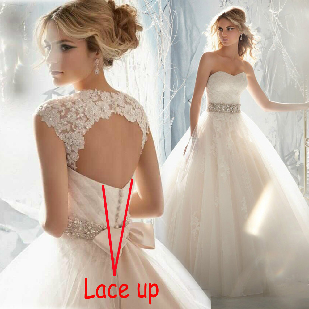 In Stock 2015 Lace Crystals Removable Lace Cap Sleeves Beading Sash Wedding Dress Ball Gowns Lace Up Back Light Champagne Bridal(China (Mainland))