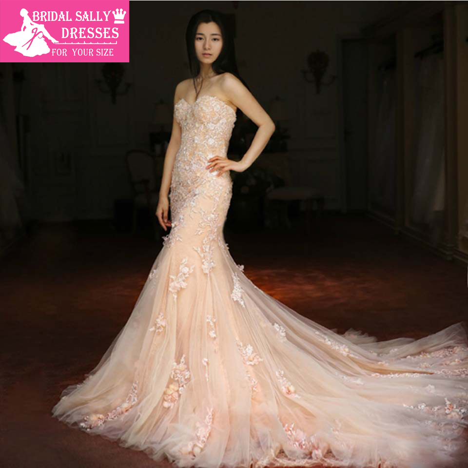 New arrival custom made sweetheart elegant sleeveless for Custom mermaid wedding dress