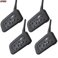 4 pcs 2016 Version Original V6 Motorcycle Helmet Bluetooth Intercom Headset Moto Intercomunicador 6 Riders BT