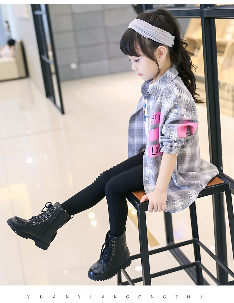 Children's Wear Girls Autumn New Long Sleeved Casual Shirt Plaid Kids Clothing Cotton Letters Printing Grey Green