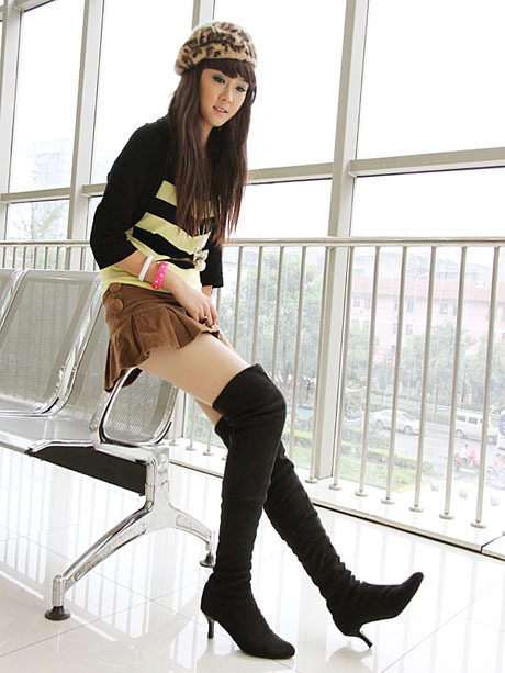 ENMAYER new U.S. 4-10.5 large wholesale free shipping sexy knee boots suede pointed high heels pumps shoes<br><br>Aliexpress