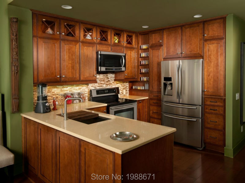 SFK Custom Wholesale RTA Solid Wood Kitchen Cabinets with island made in China(China (Mainland))