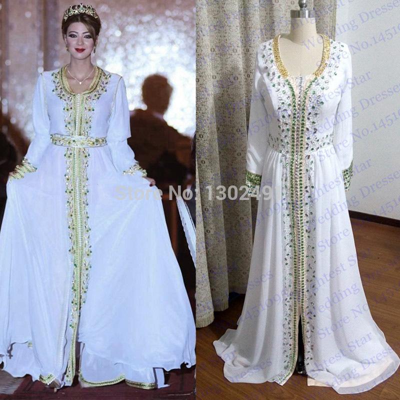 New fashion une ligne blanche perl e avec strass musulmane for Robe maxi blanche mariage