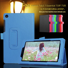 Ultra Thin Litchi Stand PU Leather Protector Sleeve Case Skin Cover For Lenovo Tab3 7 Essential 710F 710I Tablet PC + Film + Pen(China (Mainland))