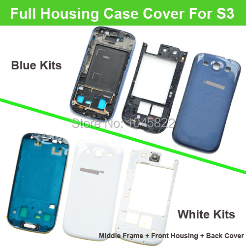 For Samsung Galaxy S3 i9300 OEM Original Complete Full Housing Cover Frame Chassis Door Battery Cover White/Blue(China (Mainland))