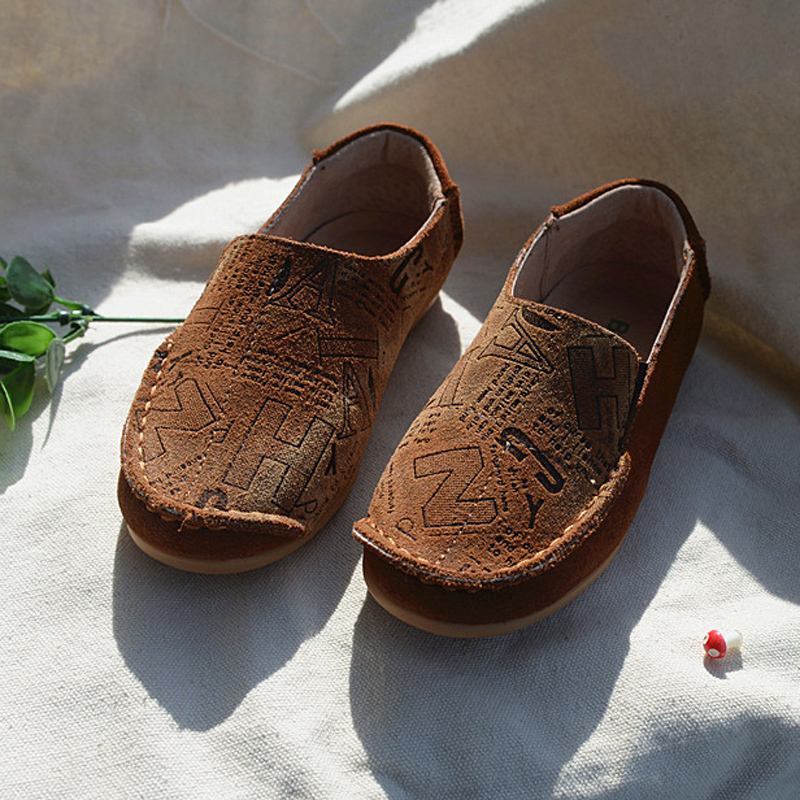 2015 kids loafers boys dress shoes leather soft sole slip-on high quality leather moccasins for child(China (Mainland))