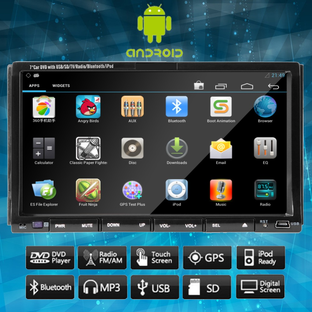Double 2 din 7'' Android 4.2 HD Touchscreen Car DVD Player GPS Navigation Bluetooth Stereo Video FM/AM RDS Radio iPod Headunit(China (Mainland))