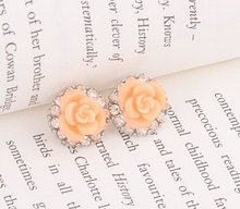 Fashion Hot Sale New Arrival Vintage Pink Rose Flower Rhinestone Stud Earrings E318(China (Mainland))