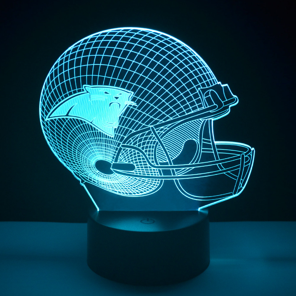 NFL Sport Cap Carolina Panthers 3D LED Night Lamp Football Helmet Bedside light Art Sculpture USB Lampe Veilleuse Home Lighting(China (Mainland))
